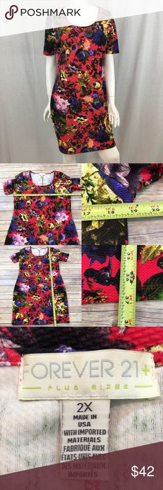 💜Sz 2X Forever 21+ Floral Stretch Bodycon Dress Measurements are in photos. Normal wash wear, no flaws. A2/44 ***material tag has been removed.  I do not comment to my buyers after purchases, due to their privacy. If you would like any reassurance after your purchase that I did receive your order, please feel free to comment on the listing and I will promptly respond.   I ship everyday and I always package safely. Thank you for shopping my closet! Forever 21 Dresses Midi