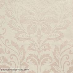 Papel Pintado Flock 4 2554-57, con fondo en beige con textura de piel de melocotón y dibujo floral en tono champán.