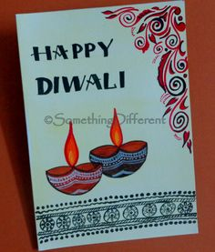 Diwali Greeting card Handmade Diwali Greeting Cards, Diwali Cards, Diwali Greetings, Diwali Diy, Happy Diwali, Easy Crafts, Diy And Crafts, Crafts For Kids, Paper Crafts