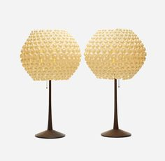 George Nelson, Lantern table lamp, 1962. Walnut, plastic. For Howard Miller clock Company. Via Wright