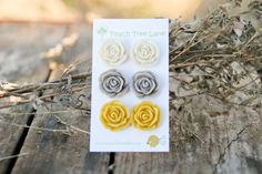 Large Rose Mustard Yellow Cream Grey Stud by peachtreelane on Etsy, $17.00