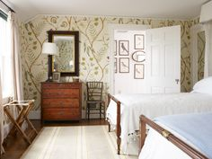 Room of the Day ~ love the curvy vine wallpaper, antiques and bed linens - Mount Desert Island, Maine | Tom Scheerer Inc. 12.27.2013