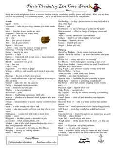 pirate sayings and phrases | Pirate Vocabulary Cheat Sheet by Cheatsheet
