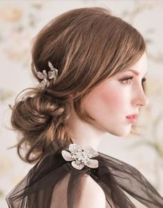 Easy updo with floral hair pins