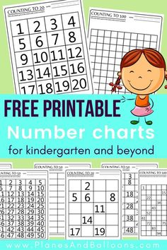 100 Chart Printable Worksheets for Counting & Skip Counting Practice Free printable number charts kindergarten teachers will appreciate! No distraction in the designs. Free activity sheets included as well. Number charts and for kindergarten and beyond. Teaching Numbers, Numbers Kindergarten, Homeschool Kindergarten, Math Numbers, Teaching Math, Maths, Decomposing Numbers, Kindergarten Math Journals, Kindergarten Counting