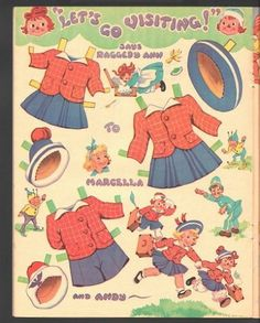 Raggedy Ann and Raggedy Andy Paper Dolls 1957 Uncut Original Book | eBay
