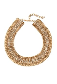 Now here's what we call a collar for the ages. As dynamic as they come, she includes sturdy outer link chain, a triple row of pave tones and dainty center chain. Lobster clasp. #JustFabSweeps