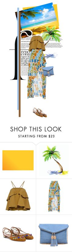 """""""Reflecting Sand"""" by seafreak83 on Polyvore featuring Rachel Comey, Tata Naka, Aquazzura, Urban Expressions, French Connection, maxiskirt, tropical, beach, ocean and print"""