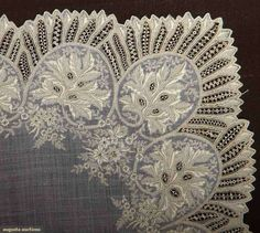 All cream linen w/ handmade needle lace fillings: 1 large c. 1840, (many small holes) fair; 2 1850-1870 Appenzel embroidered, excellent; t/w 1 Appenzel embroidered organdy scarf, fair.