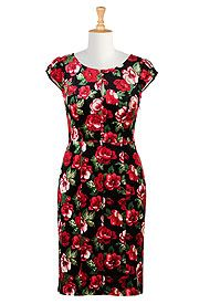 Floral print velour sheath dress