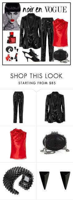 """""""Dolce & Gabbana Sequin Satin Blazer & Pant Look"""" by romaboots-1 ❤ liked on Polyvore featuring Dolce&Gabbana, Oscar de la Renta, Christian Louboutin, Stephen Webster, Alexis Bittar, Chanel and Dorateymur"""