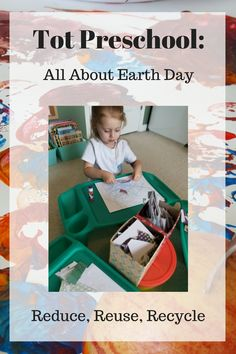 Tot Preschool: All About Earth Day. Exploring with recycled items and reusing scraps from our classroom craft closet! Hands on learning activities for preschoolers.