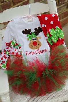 Baby Girl Christmas Tutu oufit -- Pretty Reindeer -- reindeer onesie, tutu, leg warmers and bow - red and apple green on Etsy, $84.95