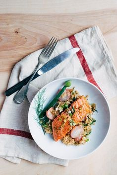 broiled salmon with fennel and radish risotto // brooklyn supper