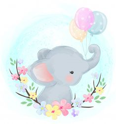 cute baby elephant with balloons - Buy this stock vector and explore similar vectors at Adobe Stock Cute Baby Elephant, Cute Giraffe, Little Elephant, Baby Shower Background, Elephant Background, Elephant Illustration, Portrait Illustration, Scrapbooking Image, Elephants Playing