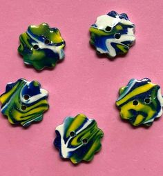 "5 #HandmadeButtons Polymer Clay 15/16"" Green Blue Yellow White OOAK New Handmade #PolymerClayButtons Scalloped Edge, Blue Yellow, Polymer Clay, Handmade Jewelry, Buttons, Ebay, Handmade Jewellery, Jewellery Making, Diy Jewelry"
