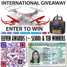 We have 11 gifts to distribute among the 10 winers. The first prize is a DRONE SYMA S5C-1 (or higher) and a FAMILY PLAN from our services. The second and third prize, a FAMILY PLAN to each one. And the next seven winners, will get a SINGLE PLAN to each one. The total value of prizes of amounts to ~$1300. Good luck, everyone! https://gleam.io/yt7gH/syma-x5c1-drone-greencard-access