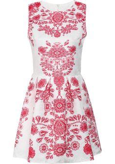 Red Sleeveless Vintage Floral Slim Dress - Sheinside.com