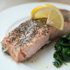 Steamed Salmon with Watercress and Lemon Butter // More Healthy Fish Recipes: http://www.foodandwine.com/slideshows/healthy-fish #foodandwine