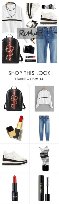 """Street Chic"" by natyleygam ❤ liked on Polyvore featuring Gucci, Garance Doré, Tom Ford, Frame, STELLA McCARTNEY, Aesop, Lancôme, white, black and red"