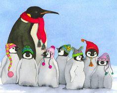 Tiddely-Pom Penguins Matted Print