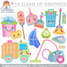 Clean Up Clipart, Clean Up Graphics, COMMERCIAL USE, Kawaii Clipart, Chore Clipart, Planner Accessories, Housekeeping, Organizing, Clean