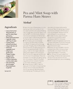 Miele Summer Recipe: Pea and Mint Soup with Parma Ham Straws Pea And Mint Soup, Parma Ham, Straws, Summer Recipes, Summer