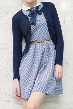 Women's fashion   Navy cardigan, blue retro dress, belt