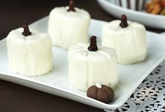 It's Written on the Wall: Bite-Sized Halloween Sweets   Make these marshmallow pumpkins  RECIPE