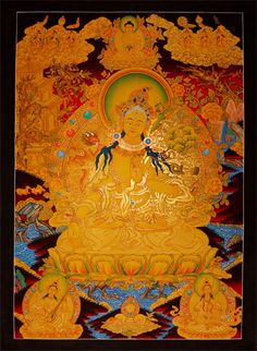 Weiße Tara, ein Traumthangkas - Weiße Tara Thangka. Traumhaft und beeindruckend gemalter Thangka. Wertvolle buddhistische Thangkas, Statuen und Mandalas. Marvelous buddhist Statues, Mandala and Thangka from Snow Lion.