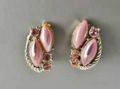 Adorable 1960s vintage pink glass clip on earrings .. gold tone diamante paste jewellery
