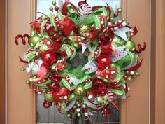 Festive Green, Red and White Deco Mesh Holiday Wreath