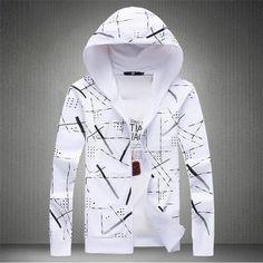 Pánská podzimní zimní stylová mikina na zip s kapucí – bílá – Velikost L Na  tento b5e5ca13f0