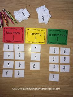 Loving Math in Elementary School Blog: A fun sorting game to practice fractions. More sorting options available.