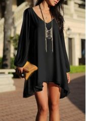 Chic V Neck Long Sleeve Straight Dress Black