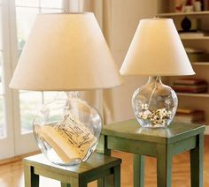 Cool 7 Fillable Glass Table Lamp Ideas Now your turn! I'm sure you will have plenty of ideas to fill in your glass lamp! Bedside Table Lamps, Glass Jar Lamps, Diy Lamp, Glass Desk Lamps, Beautiful Lamp, Bedroom Lamps Nightstand, Glass Lamp Base, Glass Lamp, Cool Lamps
