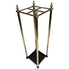 Victorian Polished Brass and Cast Iron Umbrella Stand Valet Umbrella Holder, Umbrella Stands, Cast Iron, It Cast, Hall Stand, Vintage Umbrella, Corner House, Scandinavian Modern, Polished Brass