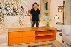 orange mid 20th century credenza - captivating and elegant