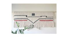 Macrame wall hanging with natural and black cotton rope and