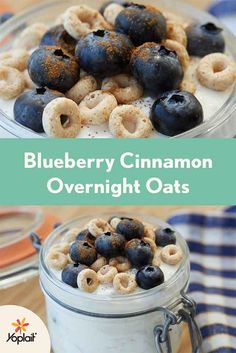 Blueberry Cinnamon Overnight Oats are the perfect pick-me-up on a cold winter morning. All you need is a handful of ingredients, Yoplait Greek 100 yogurt, Cheerios and a pinch or two of cinnamon. Hearty and delicious.