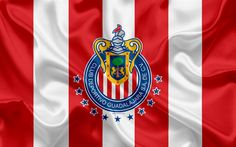 Download wallpapers Guadalajara Chivas FC, 4k, Mexican Football Club, emblem, Chivas logo, sign, football, Primera Division, Mexico Football Championships, Guadalajara, Mexico, silk flag
