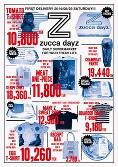 zucca dayz2014art direction+graphic design:Rikako Nagashimagraphic design:Aiko Koikedisplay design : Rikako Nagashima+Aiko Koike