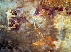 TAKARKORI - SAHARA - SOUTH LIBYA  Neolithic site 6000/ 3000 B.C. - Image of domesticated animals