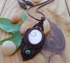 Shiva eye shell macrame necklace micro macrame by SelinofosArt