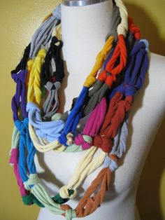 KNOTTY  Colorful Recycled Tshirt Scarf Necklace