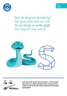 De letter S is van het woord 'slang'. De slang sist: Ssssssss. Dat zijn veel letters S! Kun jij ze op het werkblad ook herkennen? Hoe vaak tel jij de letter S in het versje? Tel alle letters S en kleur iedere keer als je de letter S telt een vakje in de grote letter S.