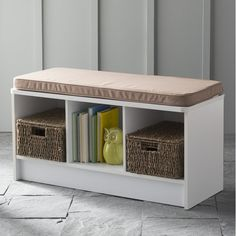 Upholstered Bench With Storage Shelf.Trend End Of Bed Bench Sandra Best Decor. DIY Corner Bench With Storage And Seating - DIYideas Tips. Cube Storage Bench, Storage Bench With Cushion, Entryway Bench Storage, Fabric Storage Bins, Shoe Storage Cabinet, Office Storage, Storage Shelves, Entryway Decor, Bookshelf Bench