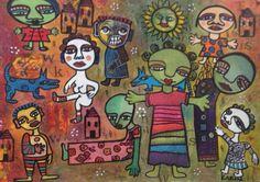 Naive Art : By Karin Dempsey Greenwood. Vibrant Colors, Colours, Naive Art, Outsider Art, Mixed Media, My Arts, Art Paintings, Fictional Characters, Paintings