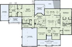 European Style House Plan - 5 Beds 3 Baths 2768 Sq/Ft Plan #17-2509 Floor Plan - Main Floor Plan - Houseplans.com