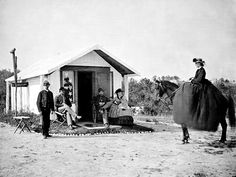 Women in Civil War Camp - Circa 1861-1865 good pic of women riding side saddle and how the riding dress looks
